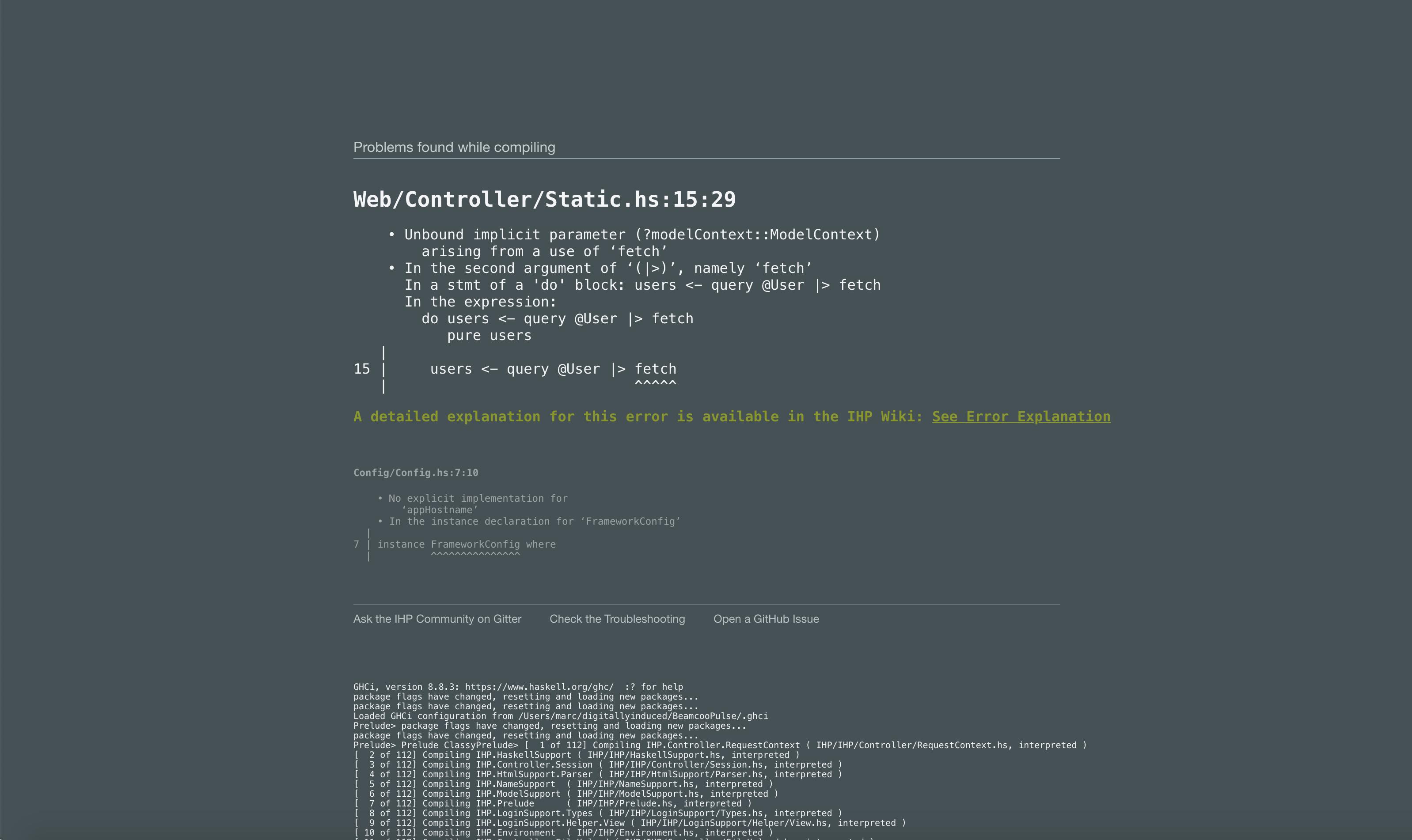 Example of a status server error message